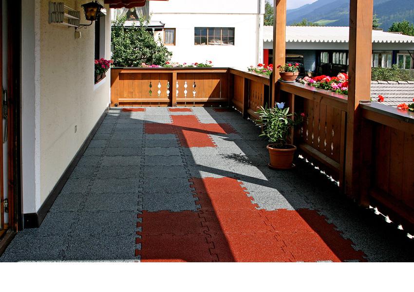 Mattonelle per terrazzo sicurezza con gomma antitrauma